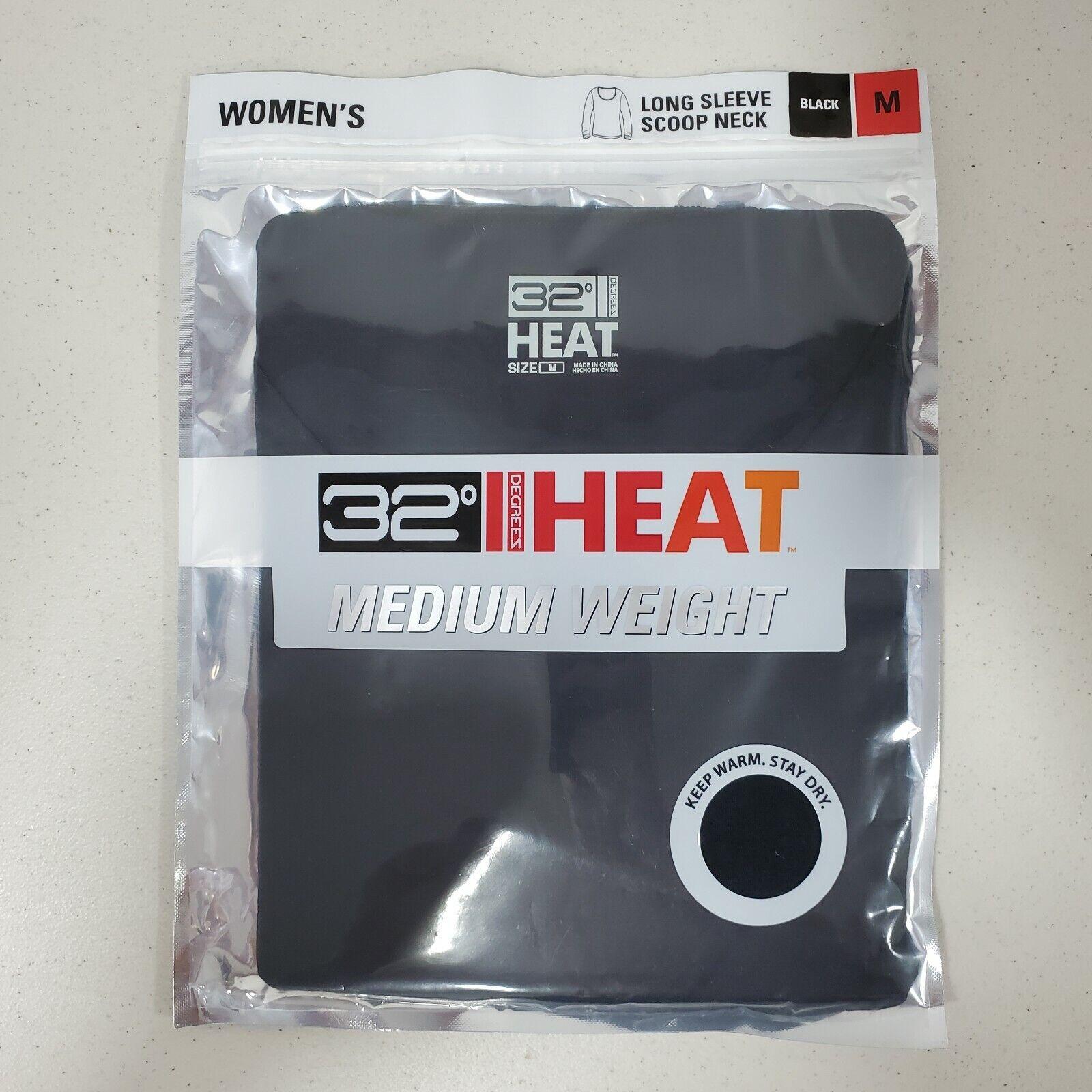 Women's 32 Degrees Heat Black Long Sleeve Scoop Neck Size Medium Free Shipping