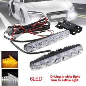 2x-LED-LED-Weiss-Tagfahrlicht-DRL-Amber-Blinker-Nebelscheinwerfer-Driving-Lampe