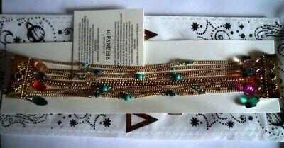 """Bijoux Fantaisie Bracelets Superbe Bracelet """"hipanema"""" Dore Dahia Multi /taille L/neuf//etiquette/pochon"""
