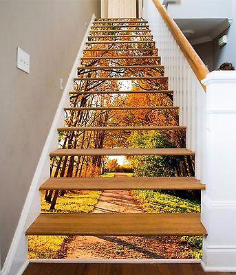 3D Autumn Trees 886 Stair Risers Decoration Photo Mural Vinyl Decal Wallpaper AU