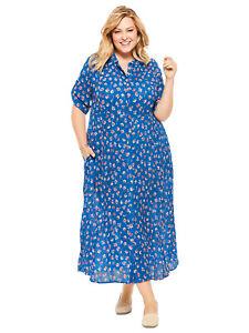 Woman-Within-Damen-Maxi-Kleid-Ubergroessen-26-28-30-32-34-Crinkle-blau-Blumenmuster
