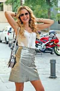 1502127c1380 zara leather skirt high rise front press studs metallic detail silver 7418  ...
