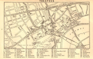 West End Theatres London Map.West End Theatres Covent Garden Shaftesbury Avenue C 1917 Old