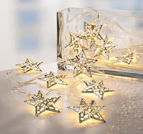 """LED Lichterkette /""""Sterne/"""" Silber Weihnachtsdeko Weihnachtsbeleuchtung Deko NEU"""