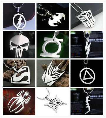 Pop Cool Boys Girls Super Hero Cosplay Steel Chain Pendant Marvel Anime Necklace