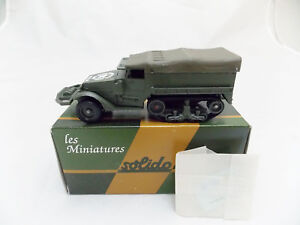 Miniature-Collection-Metal-Tank-SOLIDO-Half-Track-M3-Bache-France-Wagram