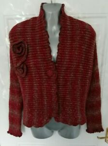 NINA-MURATI-Size-16-L-Red-Brown-Ribbed-Stretchy-Wool-Blend-Cardigan-Lagenlook