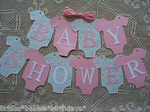 10 Bunting Flags Banners Garland Onesies BABY SHOWER Pink Mint ...