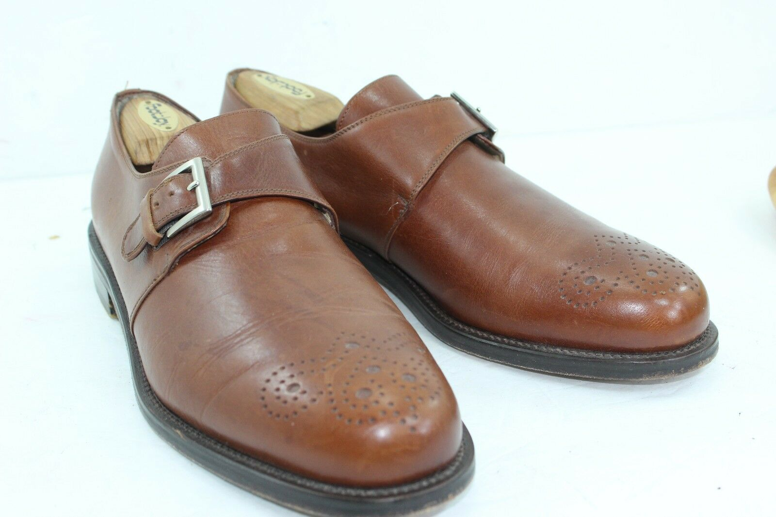 JOSEPH ABBOUD MONK SIZE 11 M BROWNS IN PRISTINE CONDITION MADE IN ITALY