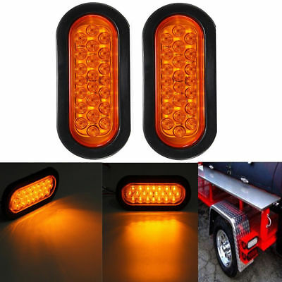 2X Amber Motorcycle Tail Brake Light Round Truck LED Reflector RV Trailer 12V