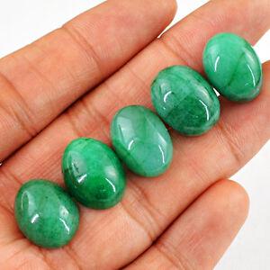 Raro-62-00-CTS-5-piezas-tierra-minada-forma-OVAL-rico-verde-esmeralda-piedras-preciosas-lote