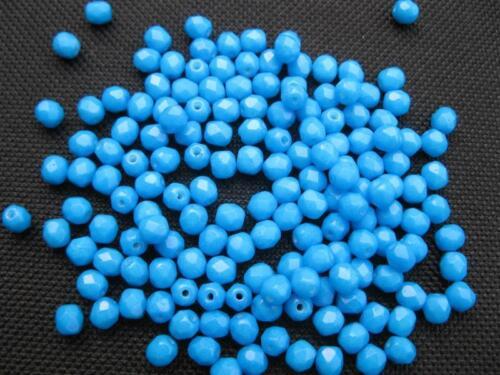 40 Glasschliffperlen rund 4mm hot blau Beads 10997