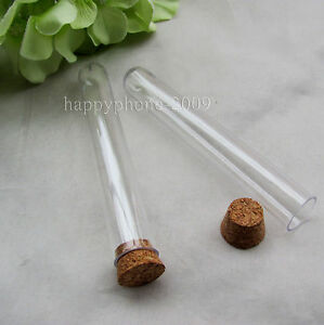 100pcs Clear Plastic Test Tube With Cork Stopper 15x100 mm(11ml ...