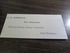 G.H. BIRDSALL - INSURANCE - 1890 / 1900'S - COAL EXCH  SCRANTON PA CALLING CARD