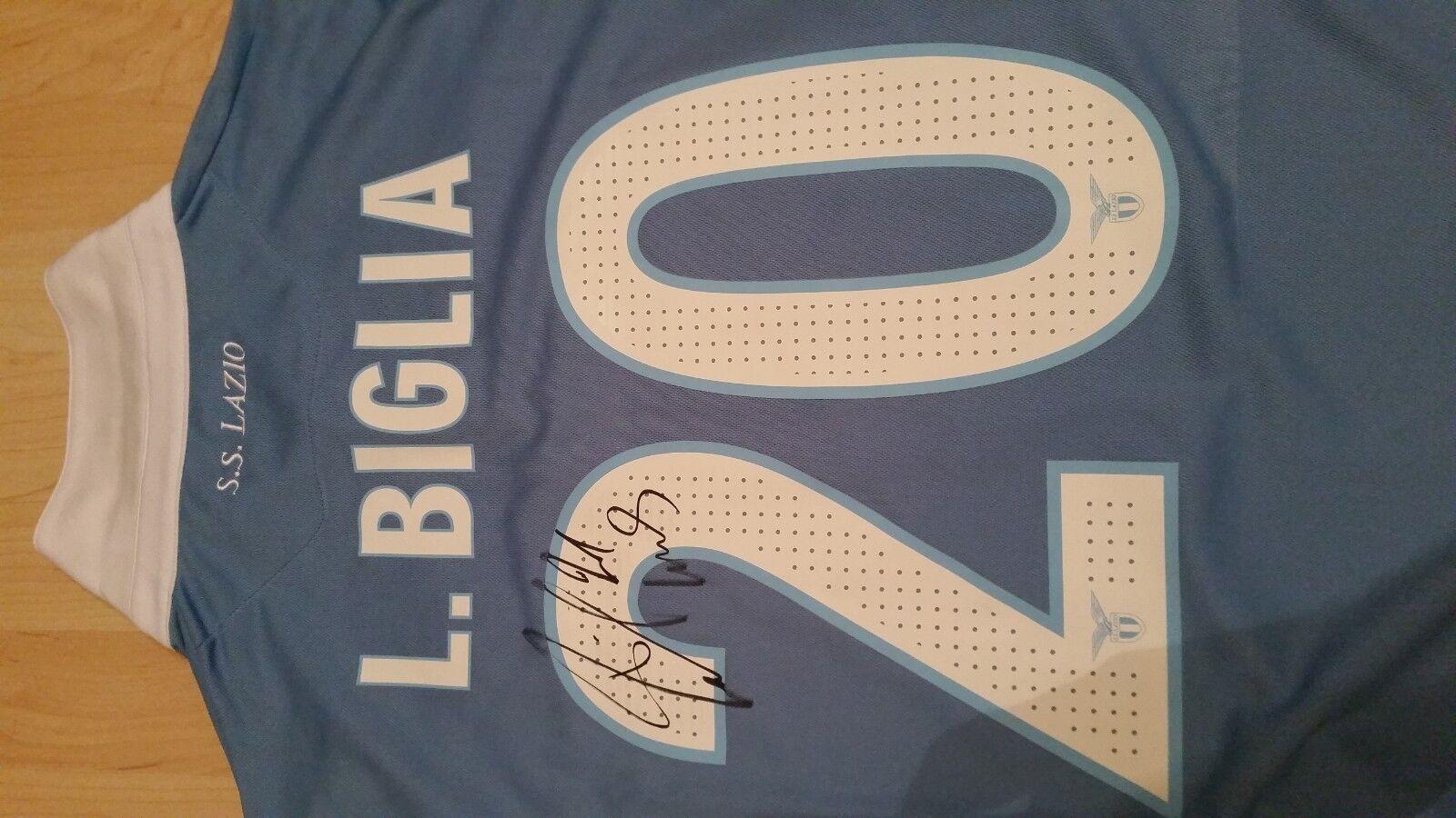 Lazio Match Worn Jersey Lucas Biglia Biglia Biglia 2017 Derby vs Roma signed Sponsor Seleco R 1f05ab