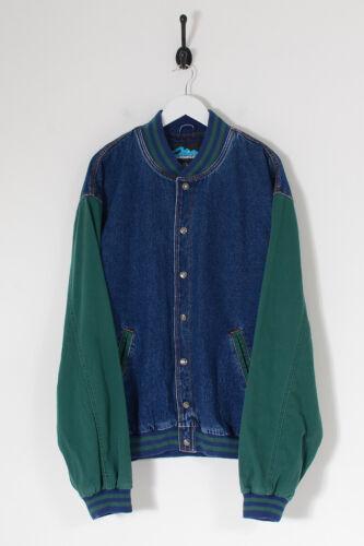 Vintage Men's Denim Varsity Jacket Dark Blue (2XL)