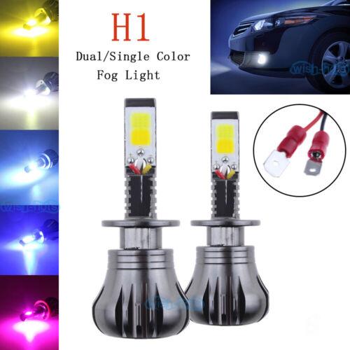 Pair H1 LED Car Fog Light Bulbs DRL Kit 3K 6K 8K 10K Dual//Single Color 2400LM