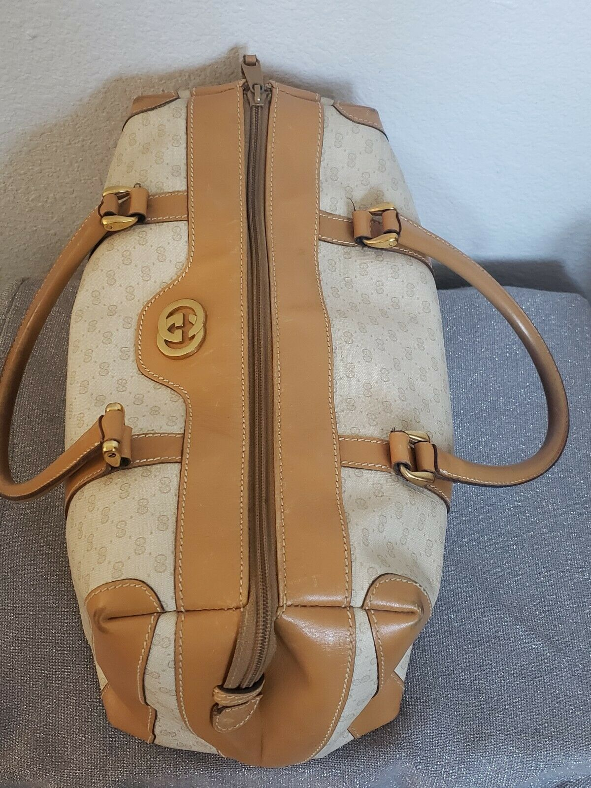 Vtg Gucci Tan GG Monogram Signature Boston Doctor… - image 5
