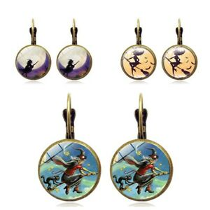 Halloween-Witch-Bronze-Trendy-Glass-Cabochon-Earrings-Vintage-Time-Ear-Hook