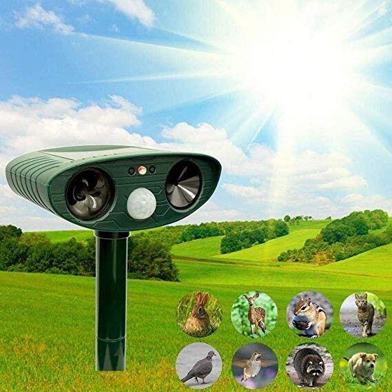 Repelente de animales ultrasónica No1 Solar Powerojo Repelente al aire libre sensor de infrarrojos