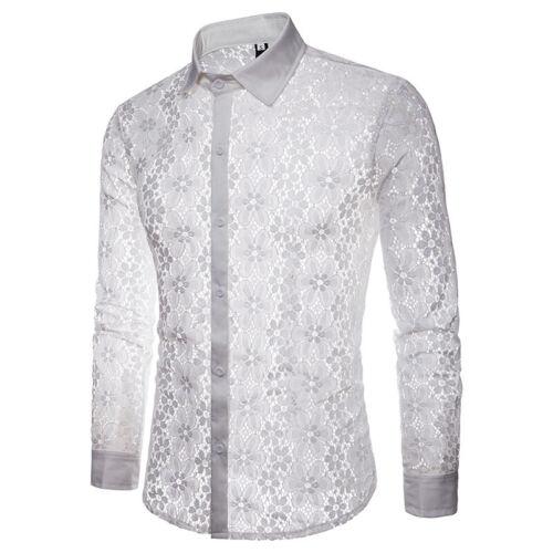 Men Business Leisure Shirts Lace Summer Hollow Nightclub Fashion Long Sleeve Hot