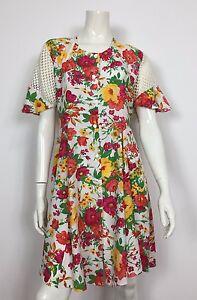 Abito-vestito-usato-floreale-estivo-M-leggero-donna-vintage-corto-T1860