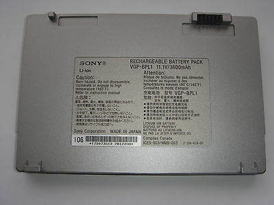 Unito Batterie D'origine Sony Vaio Vgp-bpl1 Bpl1 Originale Genuine Battery Accu Neuf Colore Veloce