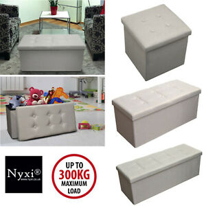Folding Ottoman Storage Box For Bedroom, Living Room.Footstool Chest Grey Beige   EBay
