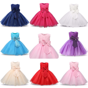 d0247190aaa Image is loading Girls-Bridesmaid-Dress-Baby-Flower-Kids-Party-Rose-