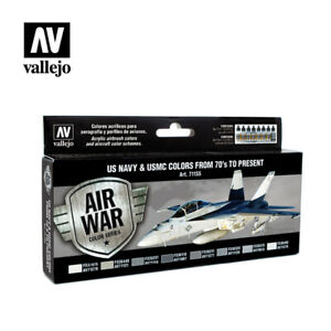 Model-Air-Paint-Set-US-Navy-amp-USMC-Colours-from-70-039-s-to-Present-71155
