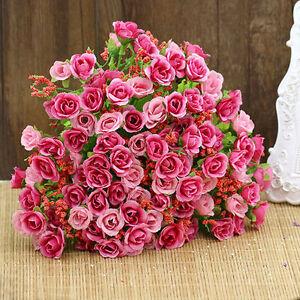 21 k pfe seidenblumen kunstblumen k nstliche roses blumenstrau floristik set ebay. Black Bedroom Furniture Sets. Home Design Ideas