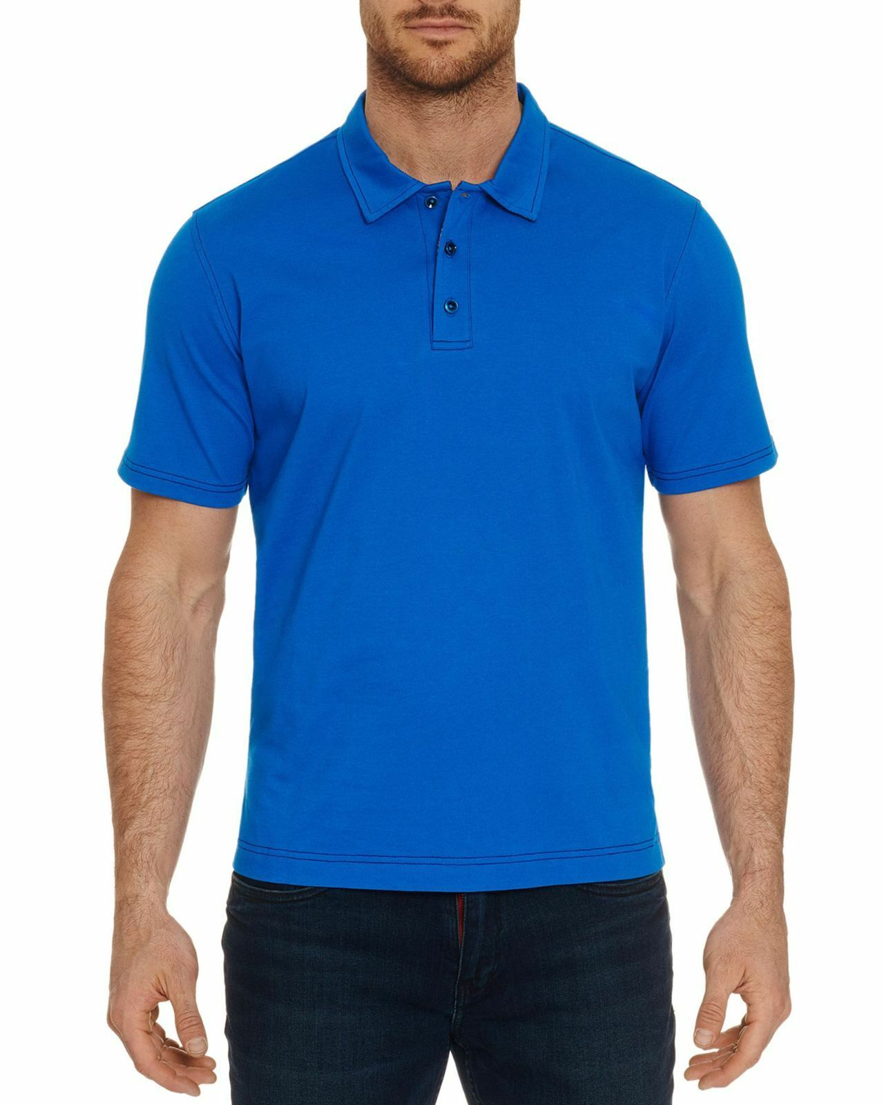 6ad4365a97e0c ROBERT GRAHAM Mens blueE SHORT SLEEVE POLO BUTTON COTTON SHIRT L FIT  CLASSIC nstwgg1436-Casual Shirts   Tops