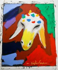 "Number 20 (Sheep) by Menashe Kadishman Oil on Canvas 24"" x 20"" w/ CoA Unframed"