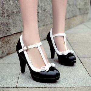 Womens Bow T-Strap High Heels Patent Leather Mary Janes Party Shoes