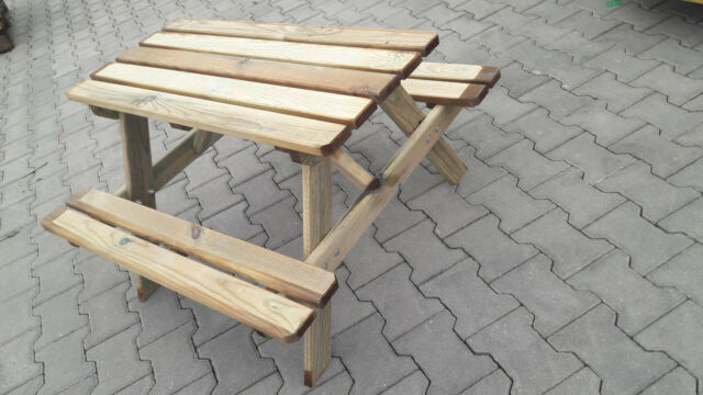 Kindersitzgruppe UNBEHANDELT 1 Tisch 2 Stühle 1 Kindersitzbank mit Deckelbremse