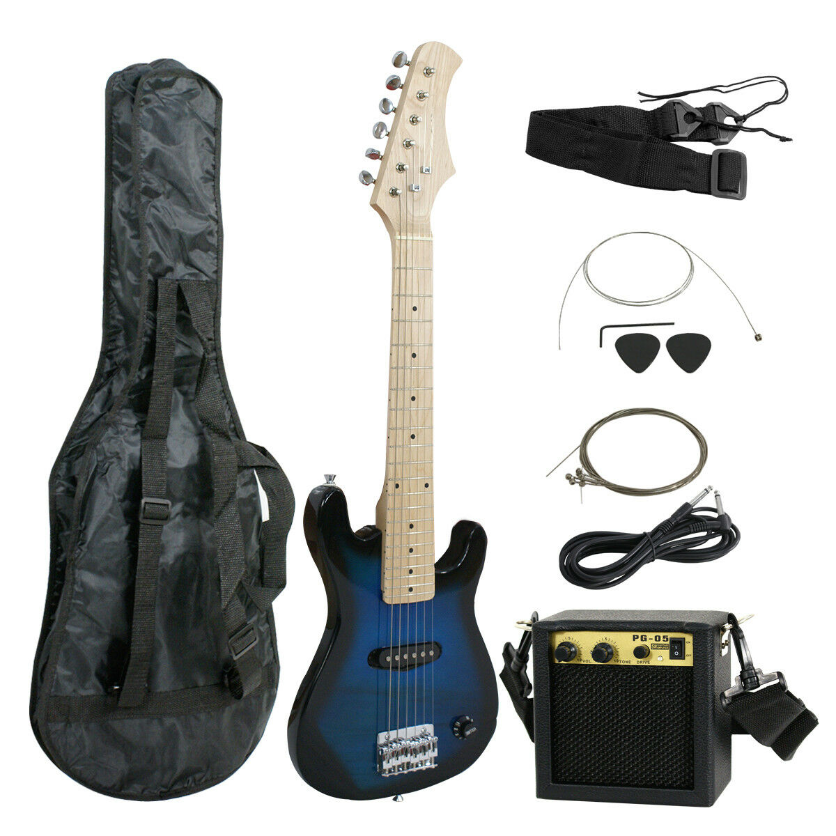 "New 30"" Kids Black Electric Guitar With Amp & Much More Guit"