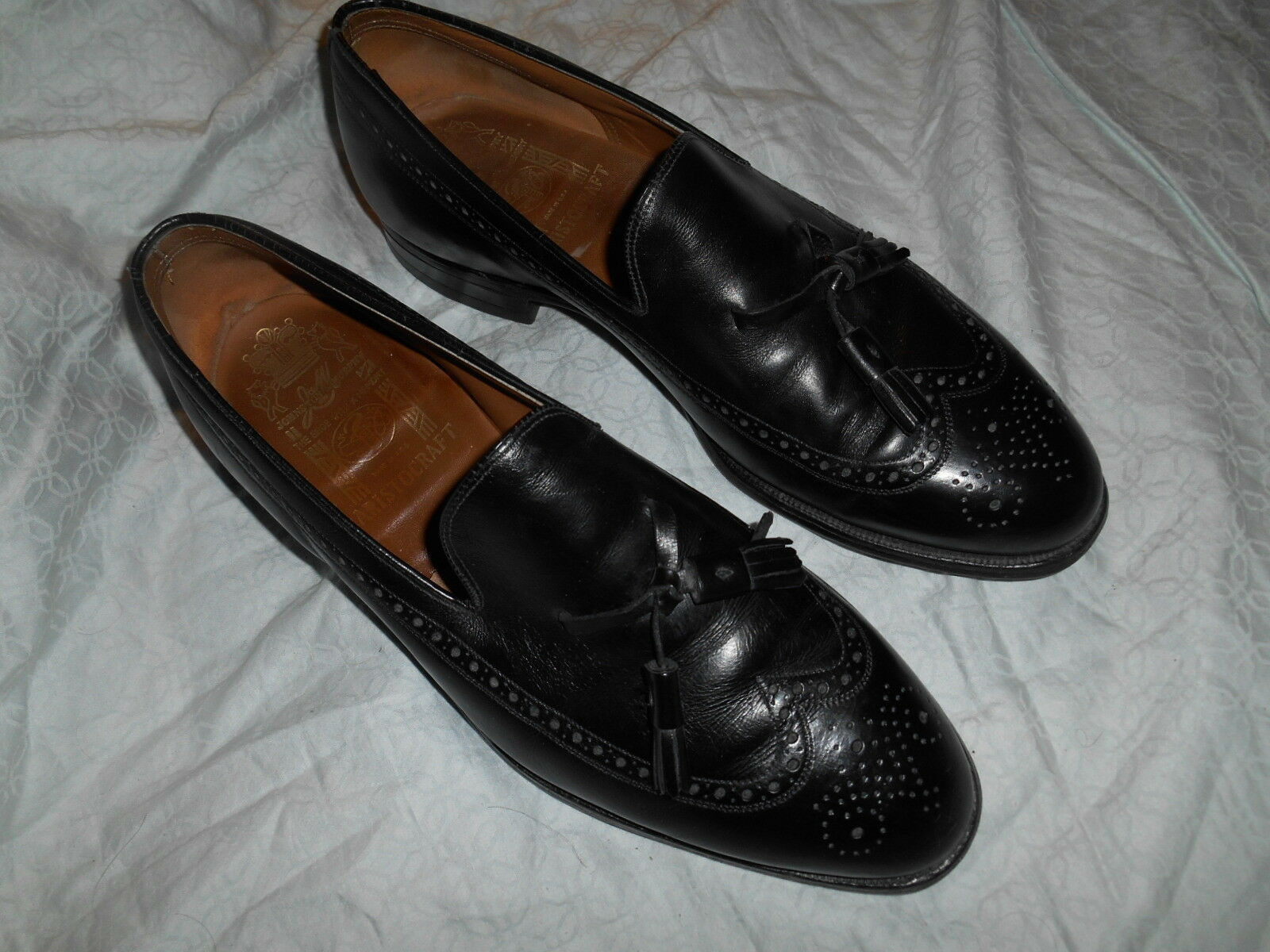 JOHNSTON & MURPHY ARISTOCRAFT WINGTIP LOAFER SCARPE SIZE 11 D GENTLY WORN ! USA.!