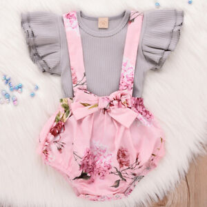 Toddler-Baby-Girls-Clothes-Ruffle-Romper-Tops-Jumpsuit-Shorts-Pants-Outfit-Sets
