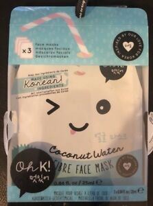 Oh K Coconut Water Fibre Face Mask Hydrating Korean Facial Mask 3 Ct 5037200036763 Ebay