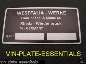 VW VOLKSWAGEN WESTFALIA INTERIOR PLATE PLAQUE BAY T3 T2 25 T4 ...