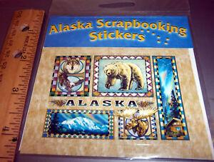 Alaska-Scrapbook-sticker-decal-Bear-Denali-aurora-moose-wolf-eagle