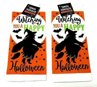 "Halloween Kitchen Dish Towel With Orange /& Black Cats 15"" x 25"""