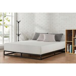 king size metal platform bed frame with wood slats bedroom mattress foundation 607353823456 ebay. Black Bedroom Furniture Sets. Home Design Ideas