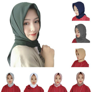 New-Plain-Chiffon-Square-Large-Hijab-Scarf-Wrap-Shawl-Muslim-Headscarf-110-110cm