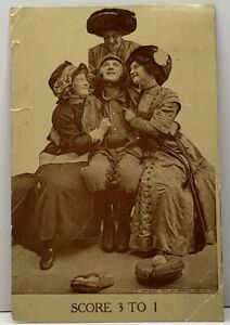 SCORE-3-TO-1-Baseball-Player-3-Women-1910-Tolna-North-Dakota-Postcard-D17