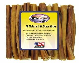 25-Count-6-034-REGULAR-Shadow-River-USA-STEER-Bully-Sticks-Dog-Treats-Chew