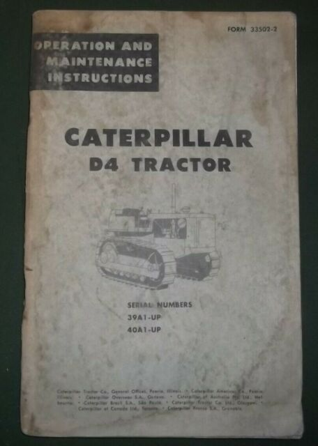 CAT CATERPILLAR D3C D4C TRACTOR DOZER OPERATION /& MAINTENANCE BOOK MANUAL