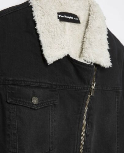 New Faux en XL peau mouton Biker de Denim Faux Taille Jacket Kooples Collier Grand rwv4xq6rY