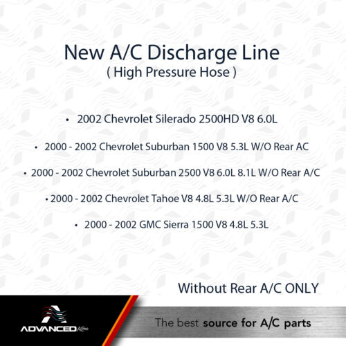 Suburban Tahoe Sierra 1500 2500 AC A//C Discharge Line Fits Silverado