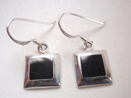 Petit Noir Onyx carrés 925 Sterling Silver Dangle Boucles d/'oreilles